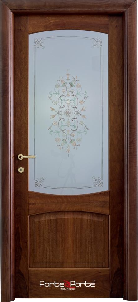 Flaminia Noce Nazionale Tinto Naturale Con Vetro Decorato 700 Tranciato Omniadoor